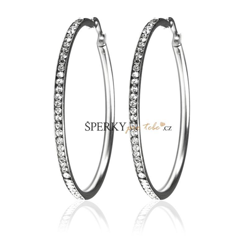618cde9e3 Náušnice kruhy 5,4 cm se zirkony z chirurgické oceli S155100 ...