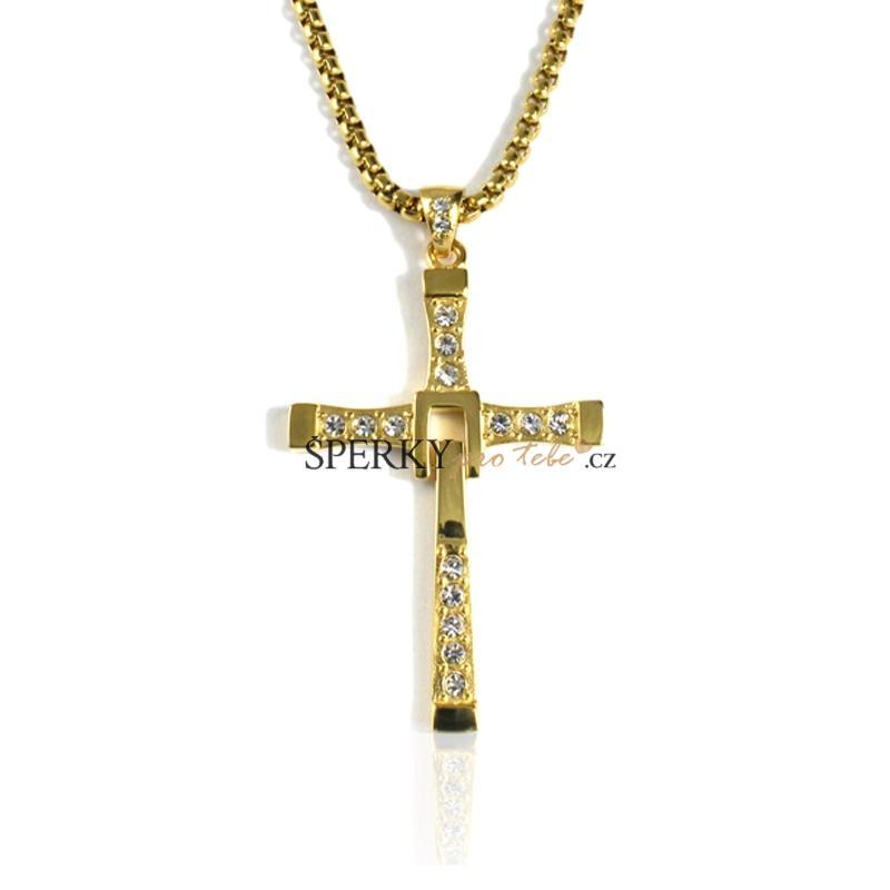 Náhrdelník s křížkem Vin Diesel gold z chirurgické oceli S24170 ... eed1b422fa