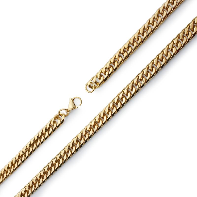 Pánský řetěz 1,4 cm z chirurgické oceli gold S857250