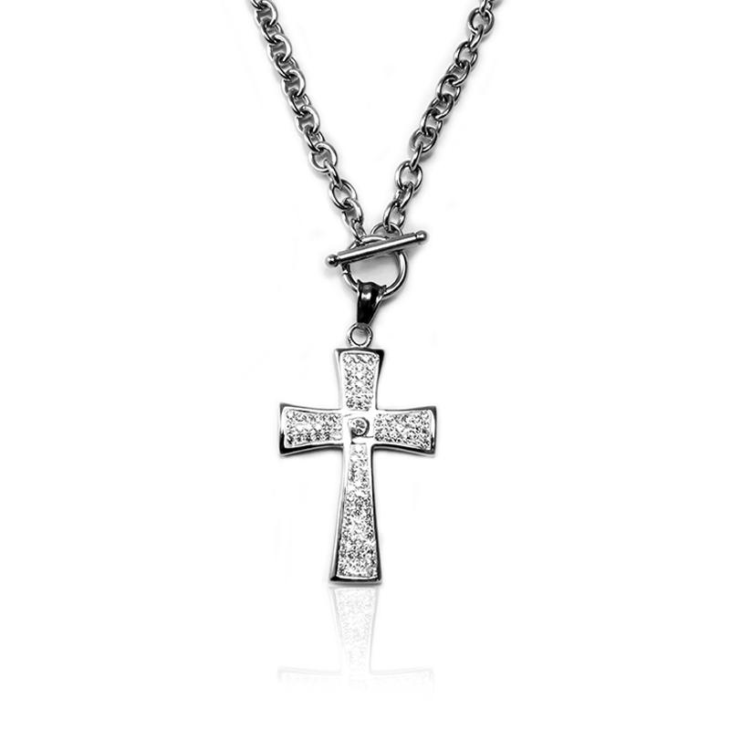 Dámský náhrdelník z chirurgické oceli křížek S118115