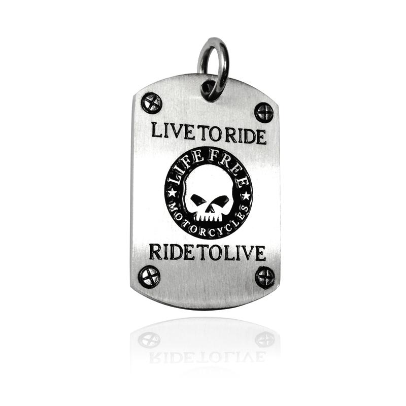 Ocelový přívěsek psí známka - LIVE TO RIDE S196080