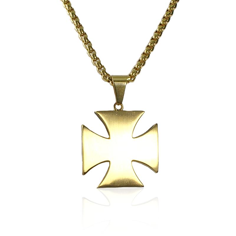 Náhrdelník keltský kříž z chirurgické oceli gold S216150