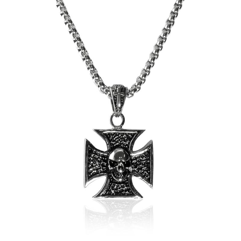 Náhrdelník keltský kříž s lebkou z chirurgické oceli S219150