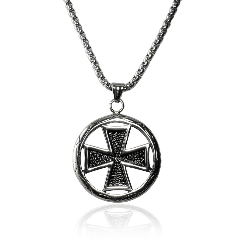 Náhrdelník keltský kříž WHEEL z chirurgické oceli S224150