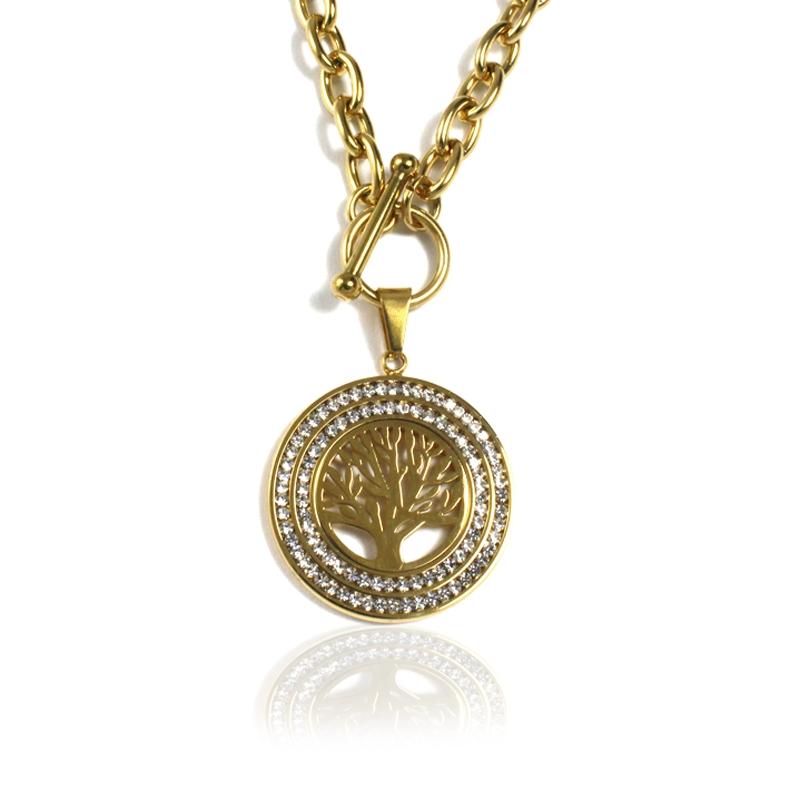Dámský náhrdelník z chirurgické oceli strom života GOLD