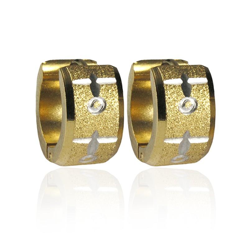 Náušnice kroužky gold z pískované chirurgické oceli S278045