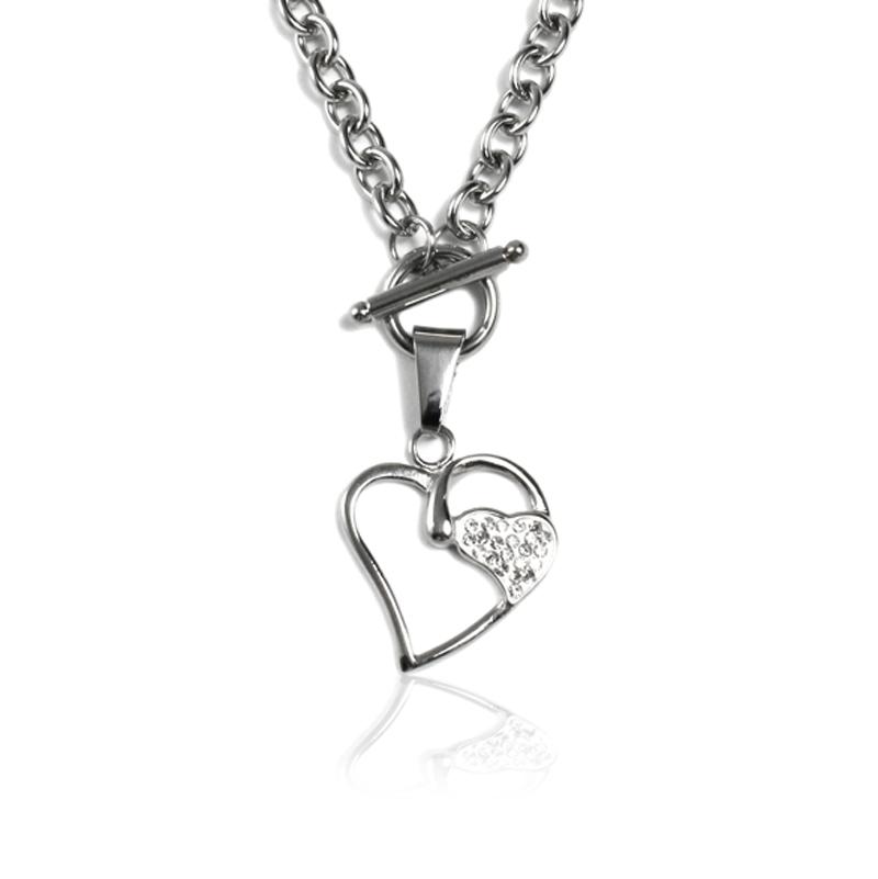 Dámský náhrdelník z chirurgické oceli TWO HEARTS S28130