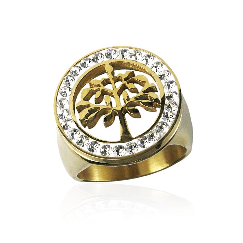 Dámský prsten strom života gold z chirurgické oceli S289130