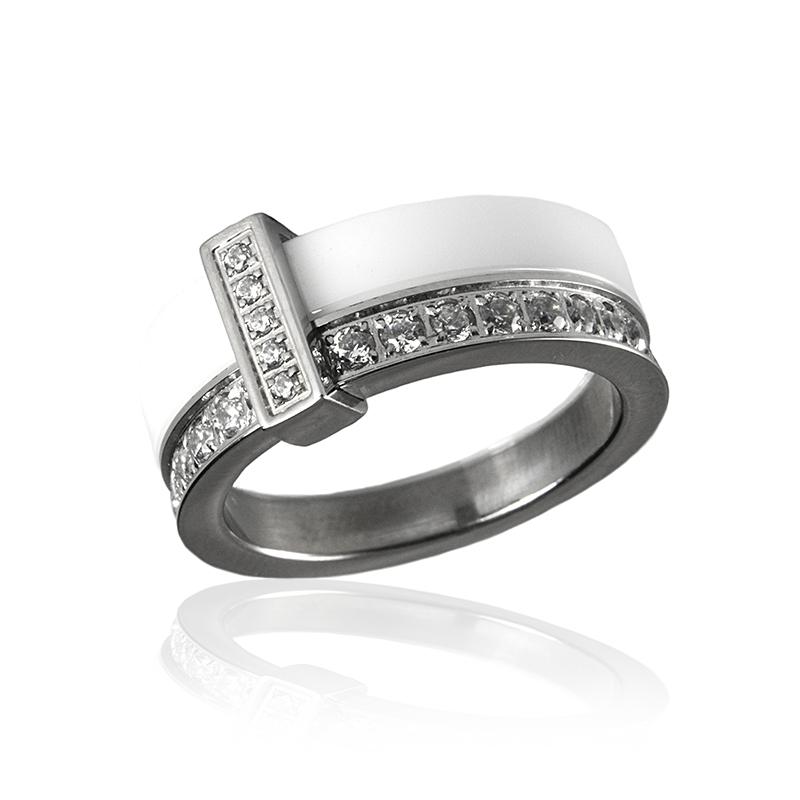 Dámský keramický prsten se zirkony S298190