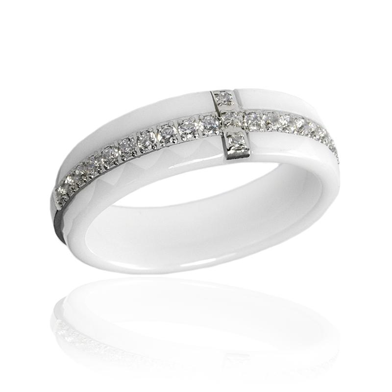Dámský keramický prsten se zirkony S299190
