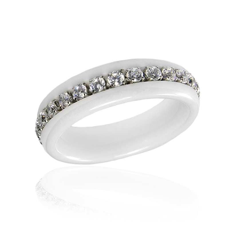 Dámský keramický prsten se zirkony S300090