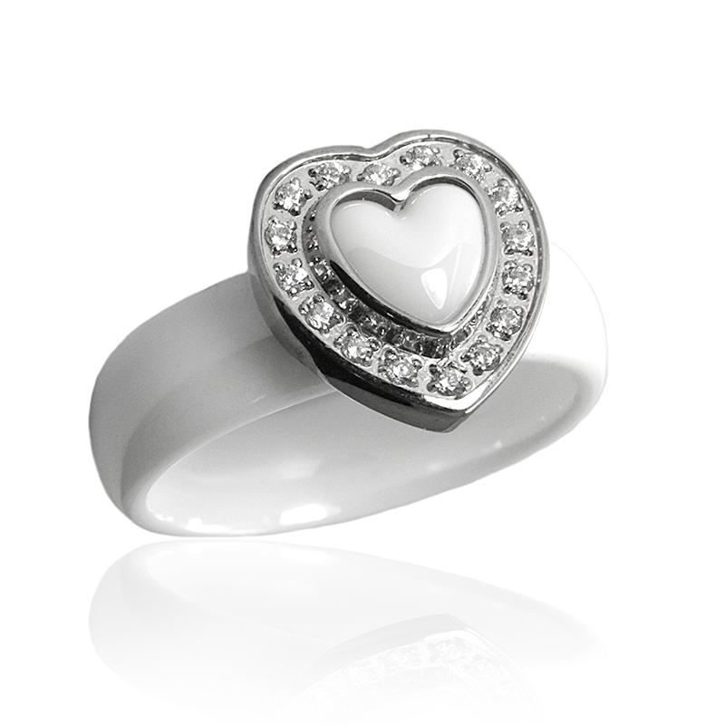 Dámský keramický prsten srdce se zirkony S301160