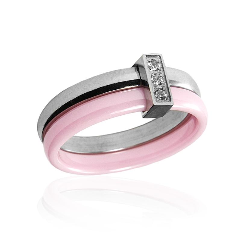 Dámský růžový keramický prsten se zirkony S303140