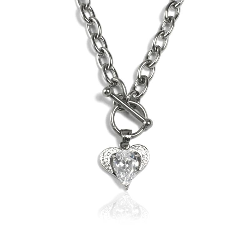 Dámský náhrdelník srdce z chirurgické oceli S31130