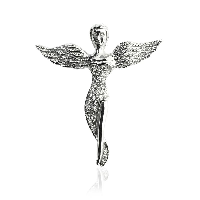 Přívěsek anděl se zirkony z chirurgické oceli S339100