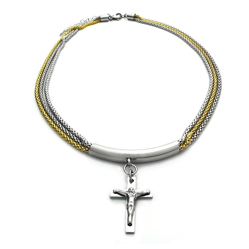 Náhrdelník two color s křížkem z chirurgické oceli S367150