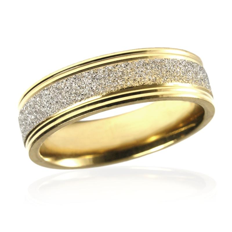 Pánský prsten z pískované chirurgické oceli GOLD/SILVER