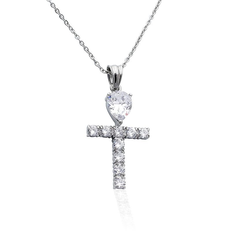 Náhrdelník zirkonový kříž z chirurgické oceli S454120
