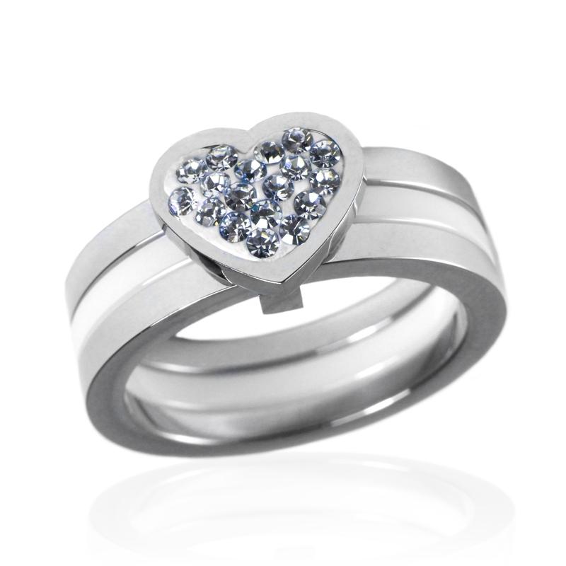 Dámský keramický prsten srdce se zirkony z chirurgické oceli S49130