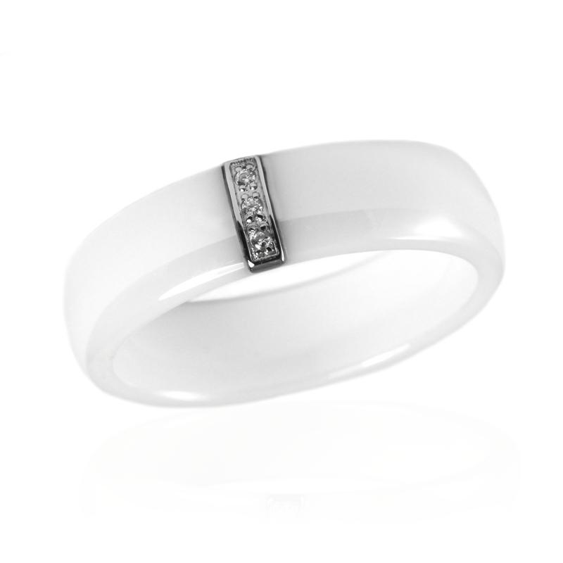 Dámský keramický prsten se zirkony S51130