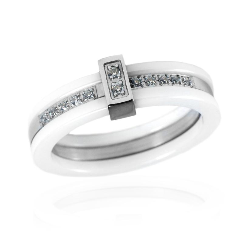 Dámský keramický prsten se zirkony S54130