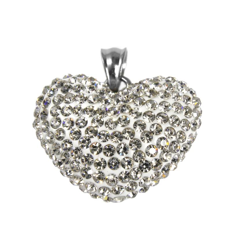 Dámský přívěsek srdce se zirkony z chirurgické oceli S58160