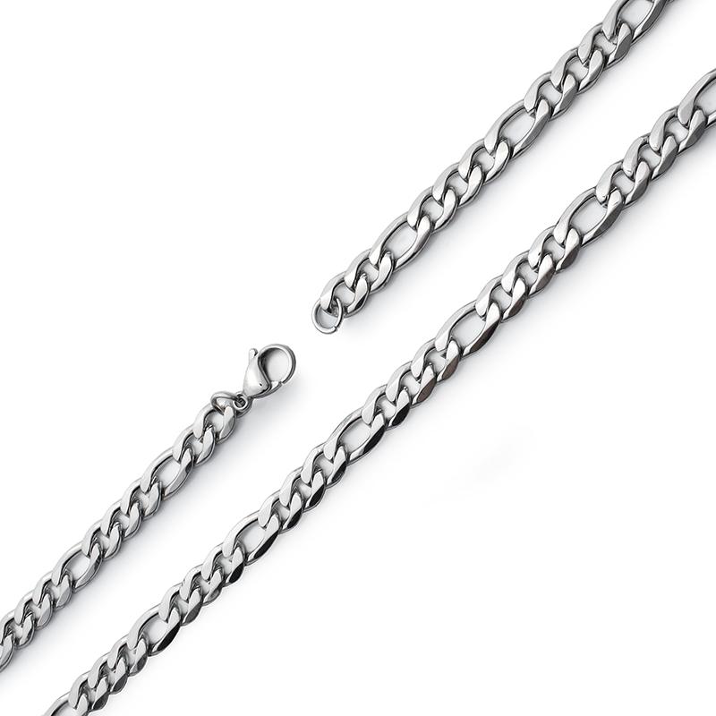 Stříbrný populární řetěz Figaro 7,5mm z chirurgické oceli S612070