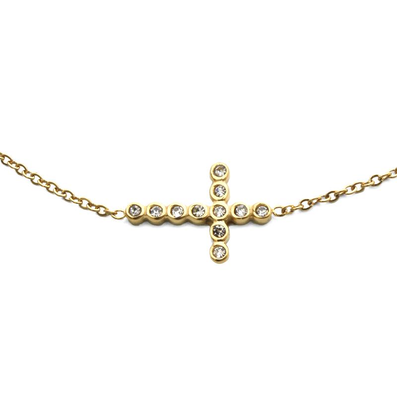 Dámský náhrdelník zlatý křížek se zirkony z chirurgické oceli S808065