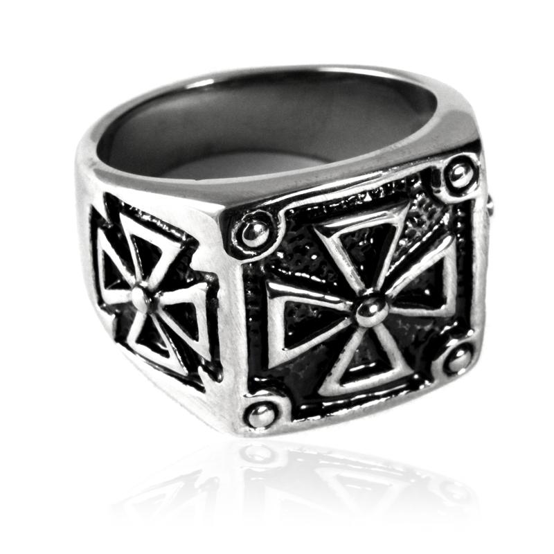 Pánský prsten z chirurgické oceli keltský kříž S83085