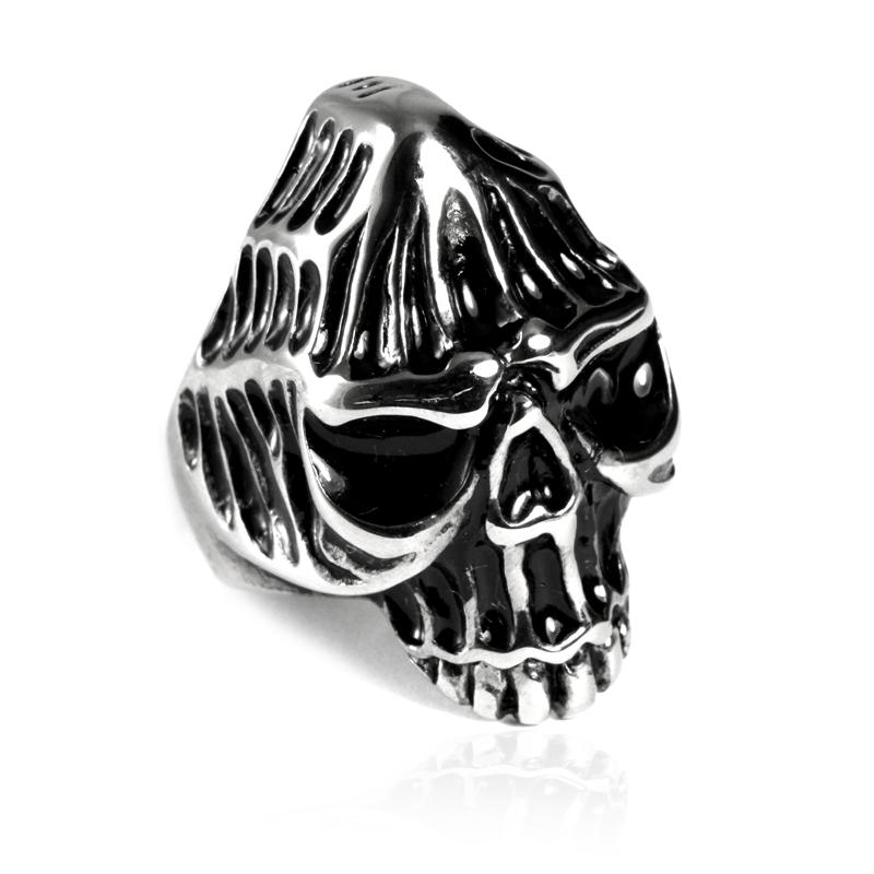 Pánský prsten z chirurgické oceli lebka S85085