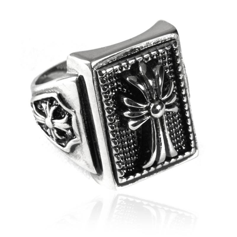 Pánský prsten z chirurgické oceli kříž S86085