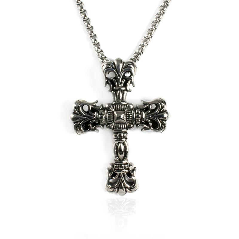 Pánský náhrdelník z chirurgické oceli - kříž S91120
